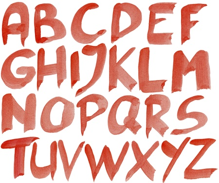 Big size hand painted red watercolor alphabet isolated on white photo