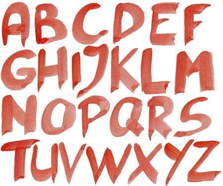 Por Tama�o grande pintada alfabeto de acuarela rojo aislado en blanco Foto de archivo - 13908832