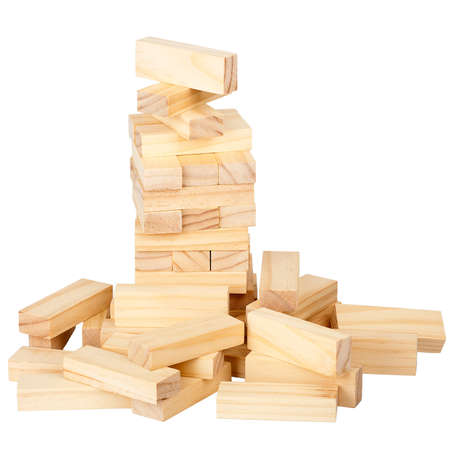 wood blocks: Collapsed wooden blocks tower isolated on white background
