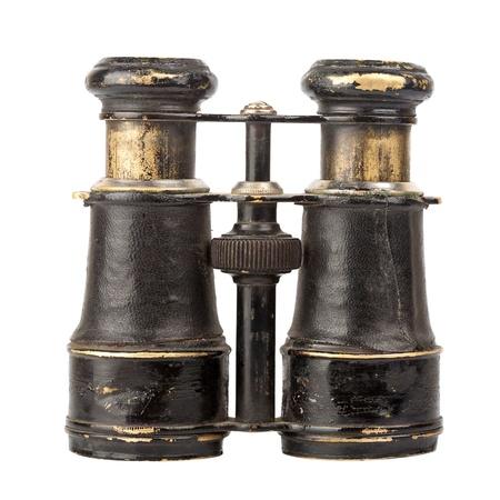 Vintage binoculars isolated on white background