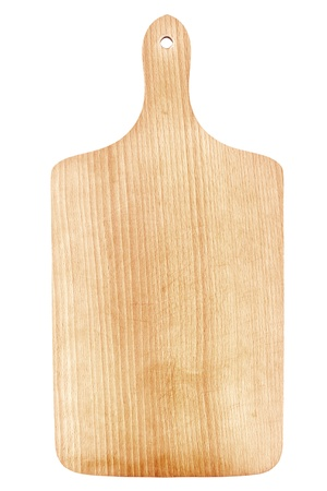 recortando: Tabla de cortar de madera aislado en blanco
