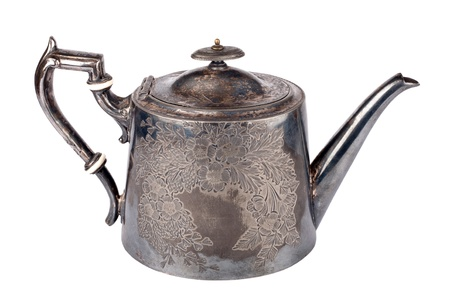 Antique teapot decorated with flowers on white background Stock Photo - 14788983