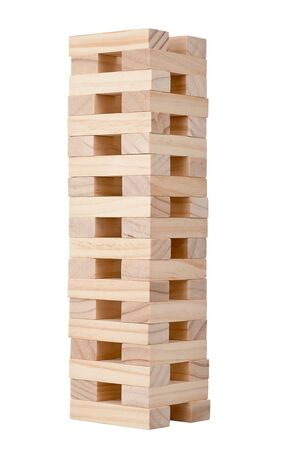 wooden blocks: Wooden blocks tower isolated on white background    Stock Photo