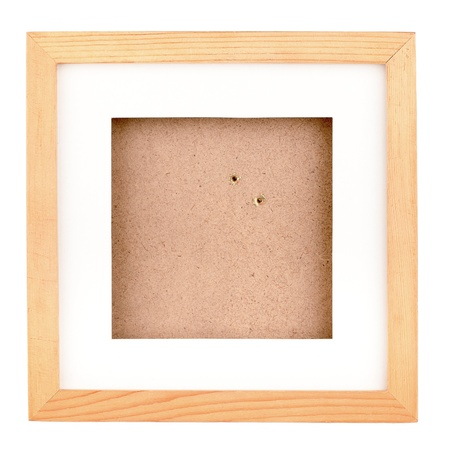Square wooden frame isolated on white background photo