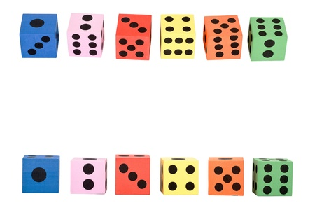 Colorful foam dice isolated on white background   photo