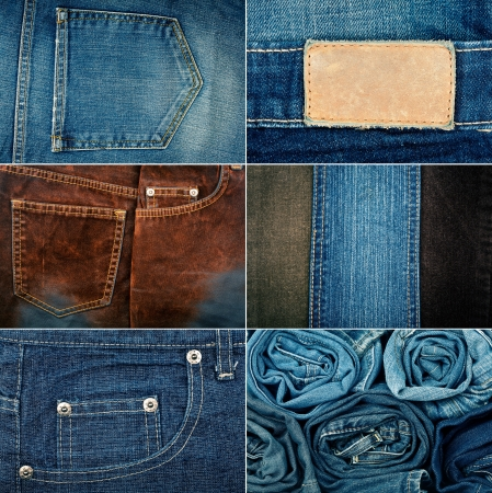 worn jeans: Big size set of jeans textures backgrounds