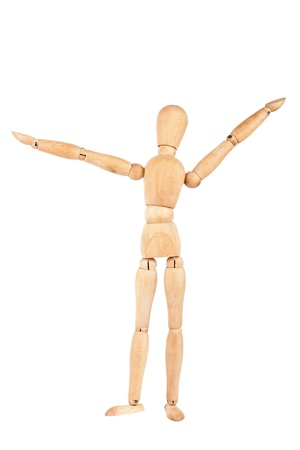 Wooden dummy with raised hands isolated on a white background