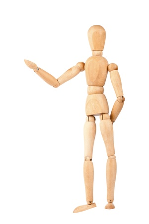 wood figurine: Wooden dummy isolated on a white background