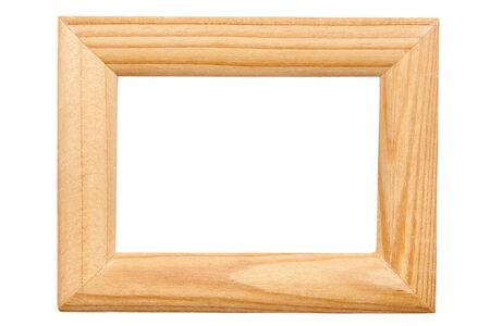Rectangular wooden frame isolated on white background photo