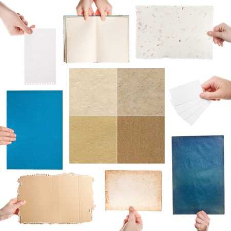 Set of hands holding various papers and handmade paper textures Stock Photo - 15277152