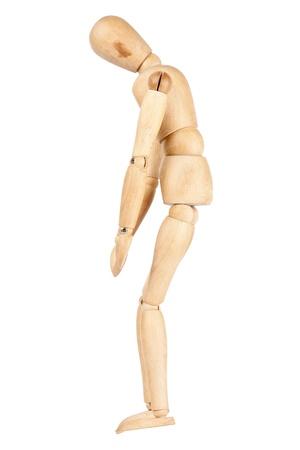 marioneta de madera: Cansado maniqu� de madera aislada en un fondo blanco Foto de archivo