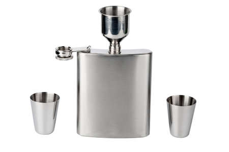 Hip flask with cups and funnel photo