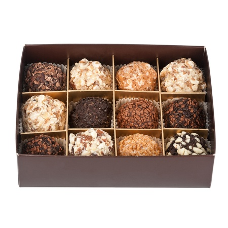 confiserie: Handmade chocolates box isolated on white background