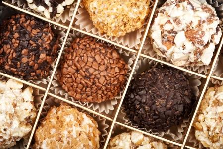 confiserie: Close up shot of handmade chocolates box  Stock Photo