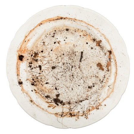 dirty dishes: Dirty plate isolated on white background Stock Photo