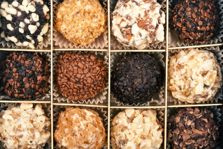 confiserie: Close up shot of handmade chocolates box