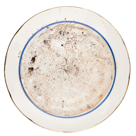 Dirty plate isolated on white background Foto de archivo
