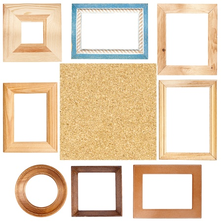 Big size set of picture frames and cork board texture