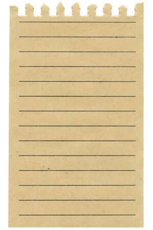 Recycled  lined paper sheet isolated on white photo