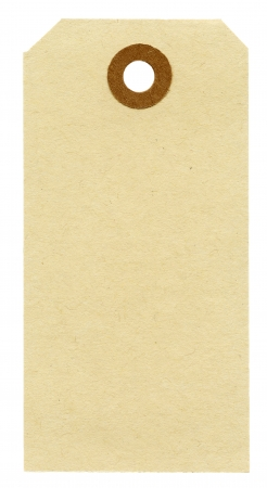 Blank paper tag isolated on white background