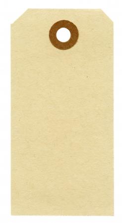 Etiqueta de papel en blanco aislado en fondo blanco