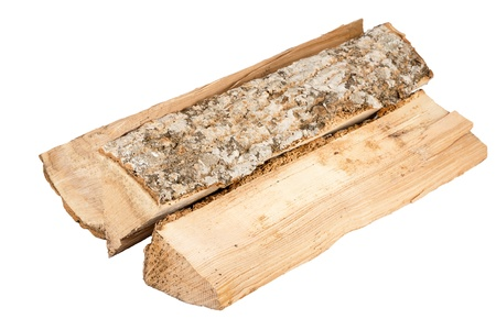 Bundle of firewood isolated on white background photo
