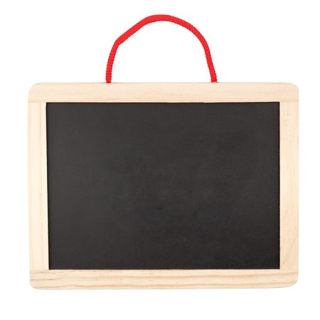 Small blank blackboard isolated on white background  Foto de archivo