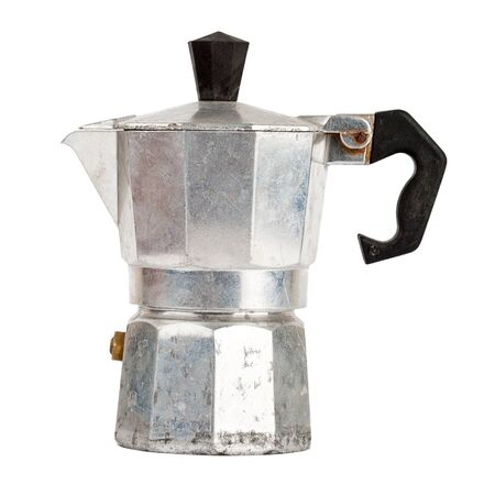 Old aluminum coffee maker isolated on white background photo