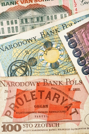 Old polish banknotes texture background