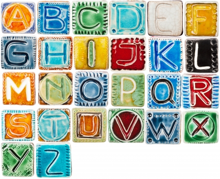 Big size colorful handmade ceramic alphabet isolated on white