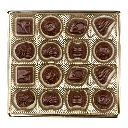 Box of chocolates isolated on white background photo