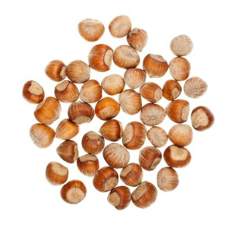 The heap of hazelnuts isolated on white background Stock Photo - 17120510