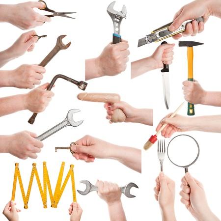 Juego de manos femeninas con diversas herramientas aisladas en blanco photo