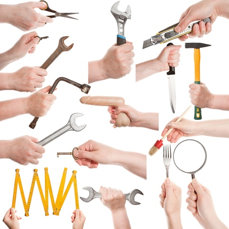 Set of female hands with various tools isolated on white photo