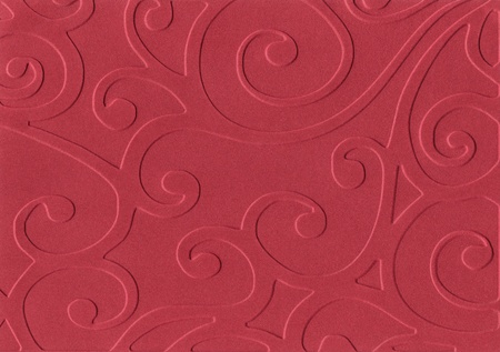 embossed: Red embossed paper isolated on white background Stock Photo