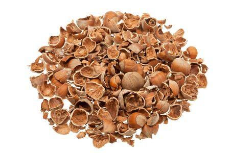 Pile of empty nutshells isolated on white background Stock Photo - 17627052