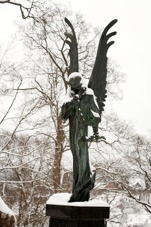 angel statue: Starue of angel at Rasu cemetery in Vilnius Lithuania