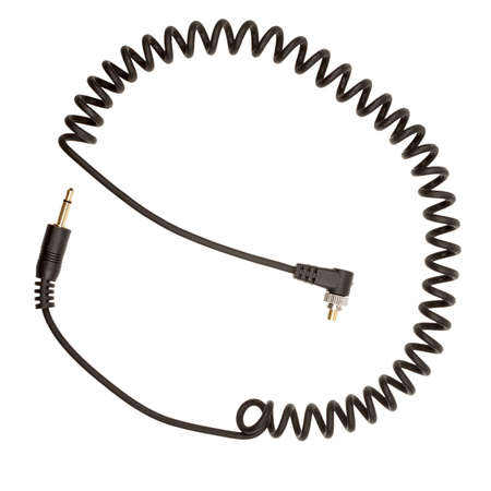 sincronizacion: Cable de sincronizaci�n del flash con bloqueo de tornillo aislado en blanco Foto de archivo