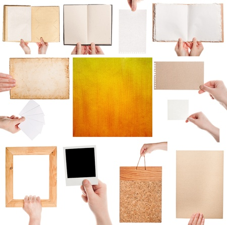 Set of hands holding various papers and designed paper texture Stock Photo - 17779472