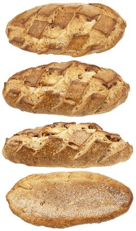 Loaf of bread from four sides isolated on a white background photo