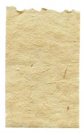 Torn handmade paper sheet isolated on white