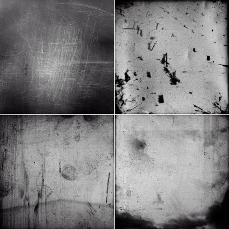 Set of four grungy medium format film frames with heavy grain and fingerprints Imagens - 19222243