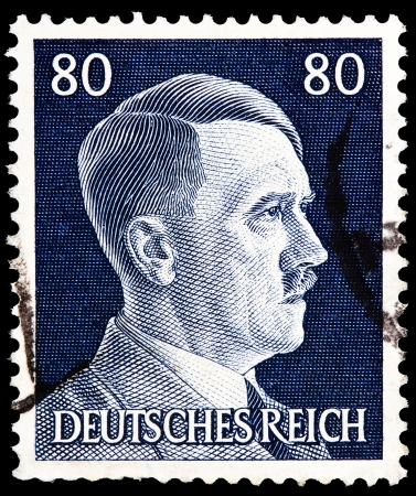 hitler: GERMAN REICH - CIRCA 1943  A stamp printed in Germany shows image of Adolf Hitler, series, 1943  Editorial