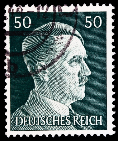 adolf: GERMAN REICH - CIRCA 1943: A stamp printed in Germany shows image of Adolf Hitler, series, 1943