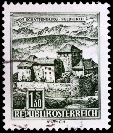 AUSTRIA - CIRCA 1967  a stamp printed in the Austria shows Schatten Castle, Feldkirch, Vorarlberg, circa 1967  Stock Photo - 20187721
