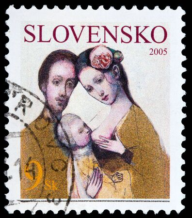 SLOVAKIA - CIRCA 2005: A stamp printed in Slovakia shows the Holy Family, circa 2005