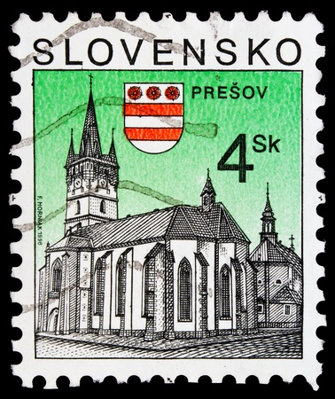 SLOVAKIA - CIRCA 1998: a stamp from Slovakia shows image of a church in Presov, circa 1998   photo