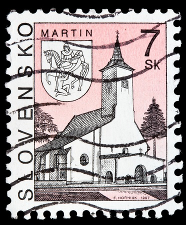 SLOVAKIA - CIRCA 1997: a stamp from Slovakia shows image of a church in Martin, circa 1997  photo
