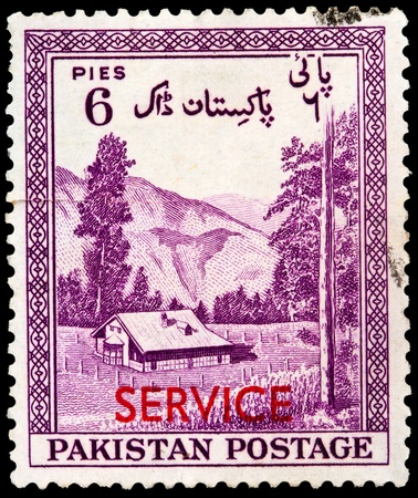 PAKISTAN - CIRCA 1954: A stamp printed in Pakistan shows Mountain landscape with Kagan, Hazara District, circa 1954   Stock Photo - 20688664