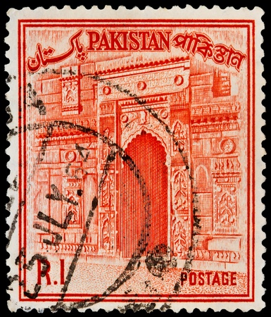 PAKISTAN - CIRCA 1963: a stamp printed in Pakistan shows Gate of Choto Shona Masjid Mosque, Small Golden Mosque, Bangladesh, circa 1963 Stock Photo - 20688665